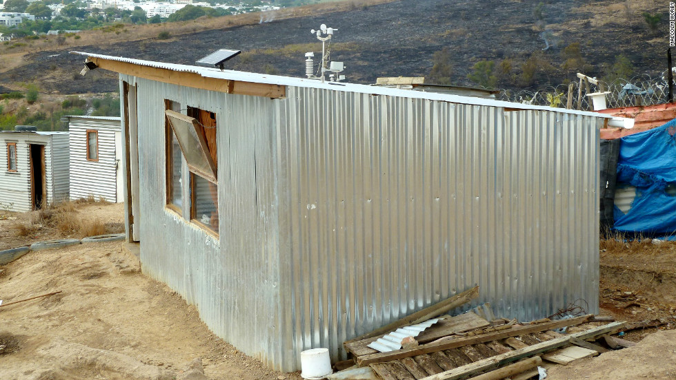 The iShack is a high-tech shack developed by the University of Stellenbosch, designed to provide slum dwellers in South Africa with a reliable source of electricity and protection from extreme temperatures.
