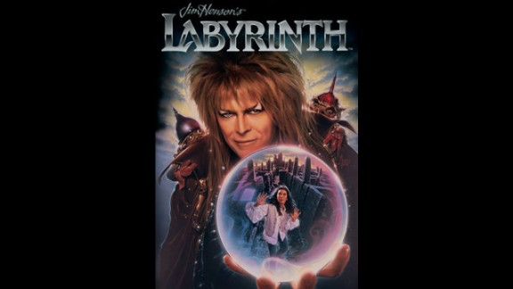 "Bowie appears on the movie poster for the 1986 film ""Labyrinth,"" for which he wrote the music and played the role of the Goblin King."