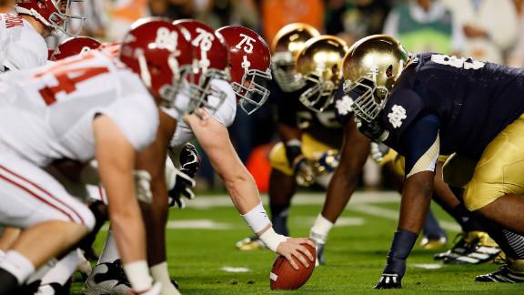 Center Barrett Jones and the Alabama offense line up against Notre Dame.