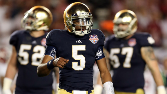 Notre Dame quarterback Everett Golson looks on after failing to convert on third down against Alabama.