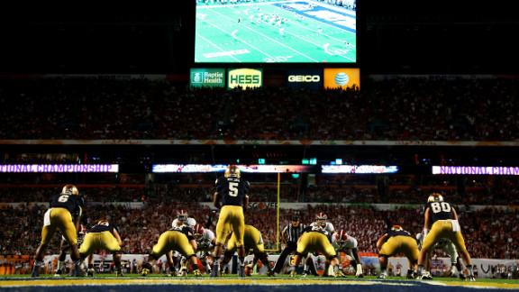 Notre Dame quarterback Everett Golson, sits under center during Monday night's game against Alabama.