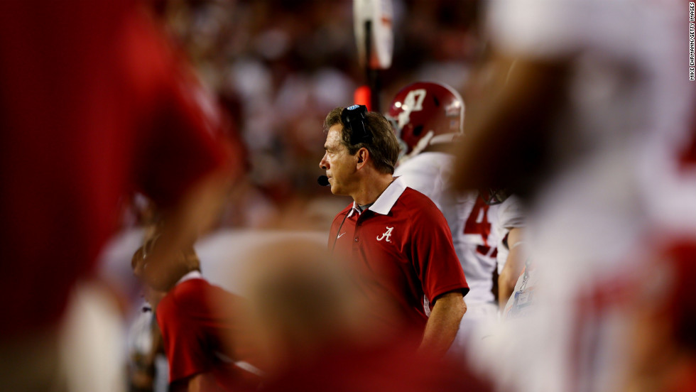 Alabama head coach Nick Saban watches the game from the sidelines.