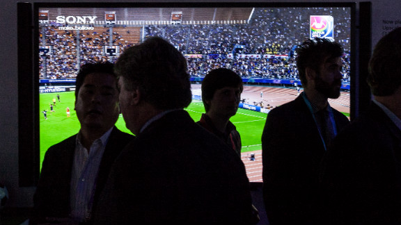 A soccer game plays on a Sony Bravia X900A 4K Ultra HD television on Monday.