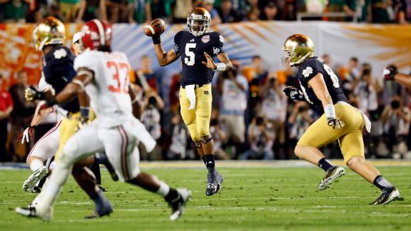 Notre Dame quarterback Everett Golson drops back to pass against Alabama.