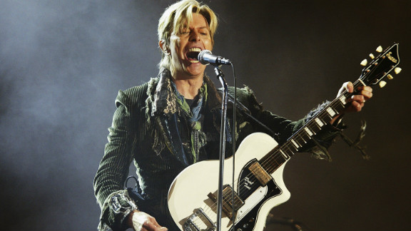 David Bowie performs in June 2004 in Wales.