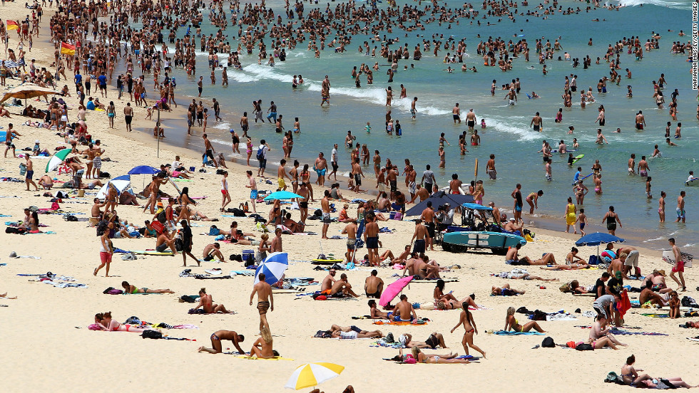 Bondi Beach in Sydney, Australia was packed with people attempting to cool down as temperatures hit 43 degrees Celsius (109 Fahrenheit).