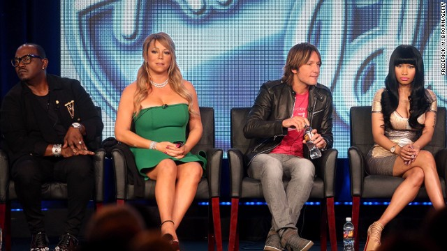 "Mariah Carey (2nd from left) was a judge on ""American Idol"" with from left Randy Jackson, Keith Urban and Nicki Minaj."