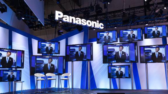 Panasonic President and CEO Kazuhiro Tsuga delivers a keynote speech on Tuesday.
