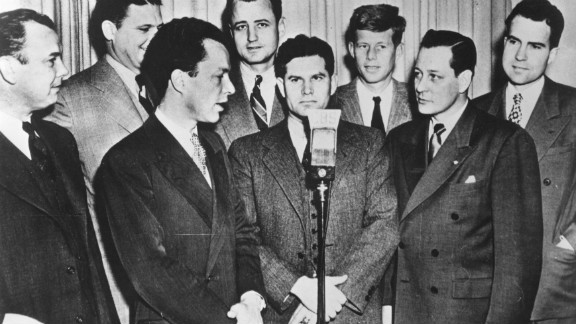 Nixon, far right, stands next to John F. Kennedy and other freshmen members of Congress in 1947.