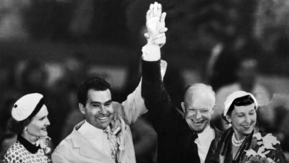 Republican presidential nominee Dwight D. Eisenhower and his running mate, Richard Nixon, with their wives at the Republican National Convention in Chicago on July 12, 1952. The Eisenhower-Nixon ticket won the election that year.