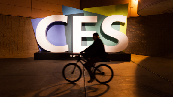 A cyclist rides past the Las Vegas Convention Center late Sunday, January 6.