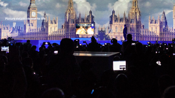 Samsung unveils its ultra-high-definition TV at the company's CES press event on Monday, January 7.