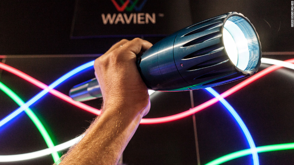 Wavien shows off its latest super-bright flashlight, the upgraded Night Navigator. It sells for $499.