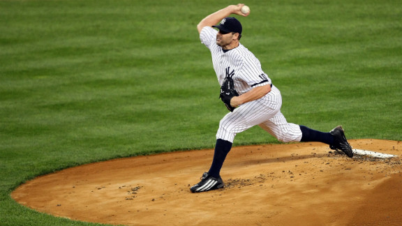 Roger Clemens of the New York Yankees pitches against the Cleveland Indians during Game Three of the American League Division Series in New York on October 7, 2007.