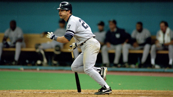 Don Mattingly of the New York Yankees hits a pitch during Game Five of the 1995 American League Divisional Series against the Seattle Mariners on October 8, 1995.