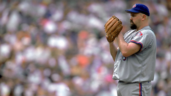 Pitcher David Wells of  the Toronto Blue Jays pitches against the Baltimore Orioles at Camden Yards in Baltimore on July 3, 2000.