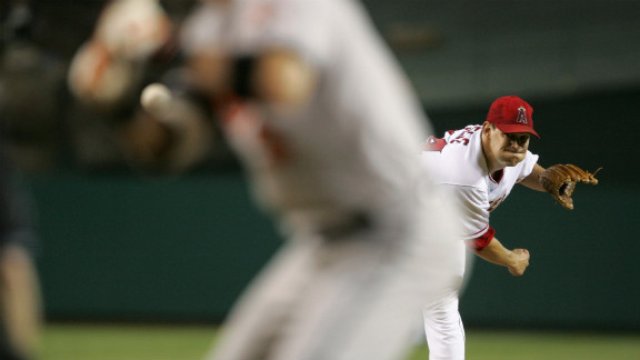 Aaron Sele of the Anaheim Angels pitches against the Baltimore Orioles on August 10, 2004, in Anaheim, California.