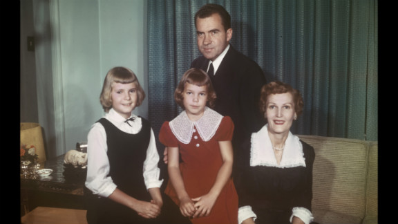 Nixon poses for a portrait with his wife, Pat, and their daughters, Tricia and Julie, circa 1958.