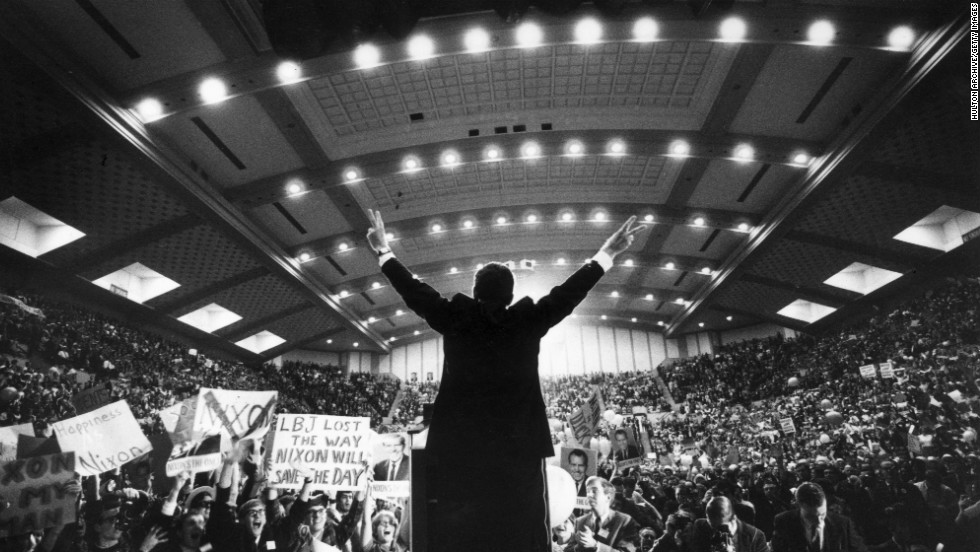Nixon addresses supporters after winning his party's nomination again in 1968. He went on to defeat the Democratic nominee, incumbent Vice President Hubert Humphrey.