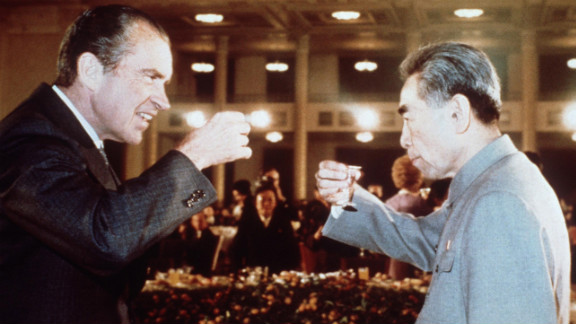 Chinese Premier Zhou Enlai toasts with Nixon during his trip to China in February 1972.