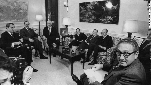 President Nixon, left, briefs the Congressional leadership in 1973 before his televised announcement of the ceasefire in the Vietnam War. From left are Senate Minority Leader Hugh Scott, House Majority Leader Tip O'Neill, Speaker of the House Carl Albert, Senate Majority Leader Mike Mansfield, House Minority Leader Gerald Ford, Vice President Spiro Agnew and Secretary of State Henry Kissinger.