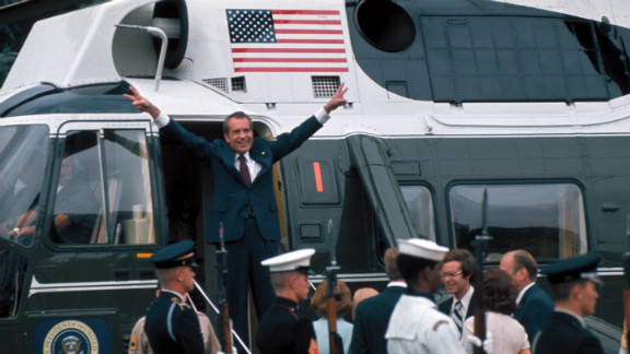 Nixon leaves the White House following his resignation over the Watergate scandal in 1974.