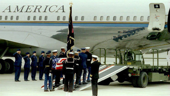 Days after suffering a stroke, Nixon died in New York on April 22, 1994. A military honor guard carries Nixon's casket at the Stewart Air Force Base before the flight back to his hometown of Yorba Linda, California. His body was put on the same Boeing 707 that flew him home after his resignation.