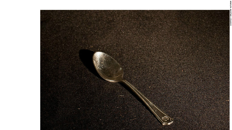 This silver demitasse spoon dates from 1925, before the Waldorf Astoria moved to from its original spot on Fifth Avenue -- the site that now hosts the Empire State Building -- to its current location at 301 Park Avenue. Claude Phillipe, the hotel's former head of sales and banquets, claimed that 25,000 demitasse spoons were lost or stolen.