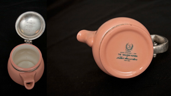A composite image of a pink teapot dated from 1937. The item was returned by Nathanael Mullener, who recalled it fondly from his time growing up in Queens, New York, but always felt a pang of guilt knowing it must have been stolen at some point.