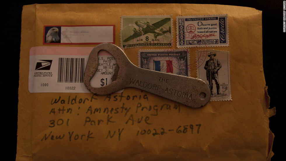 A steel bottle opener returned to the Waldorf Astoria by an anonymous donor. The famous hotel's amnesty program aims to reclaim items guests have taken with them over the years. Although the popular program officially ended in September last year, items continue to pour in.
