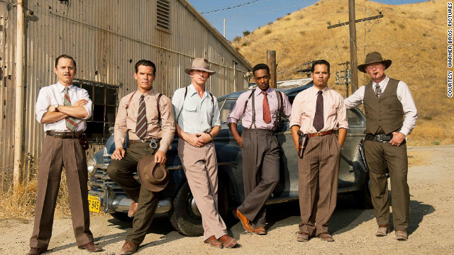 "Giovanni Ribisi, Josh Brolin, Ryan Gosling, Anthony Mackie, Michael Pena and Robert Patrick in ""Gangster Squad."""