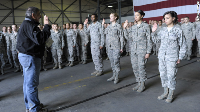 Defense Secretary Leon Panetta swears in reenlisting troops in Turkey. A survey found that military jobs tend to be the most stressful.