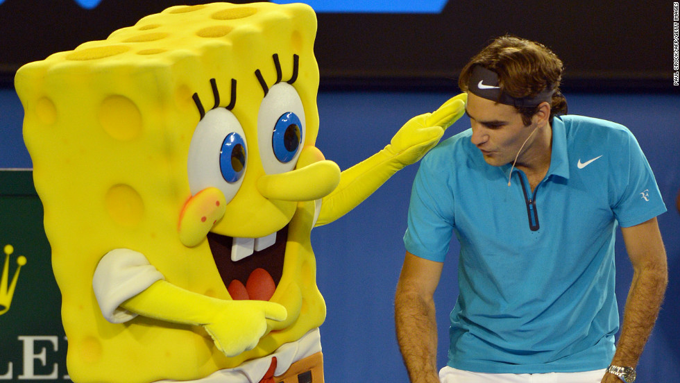 Federer, seeking a fifth Australian Open title, plays with cartoon character Sponge Bob at the children's event.