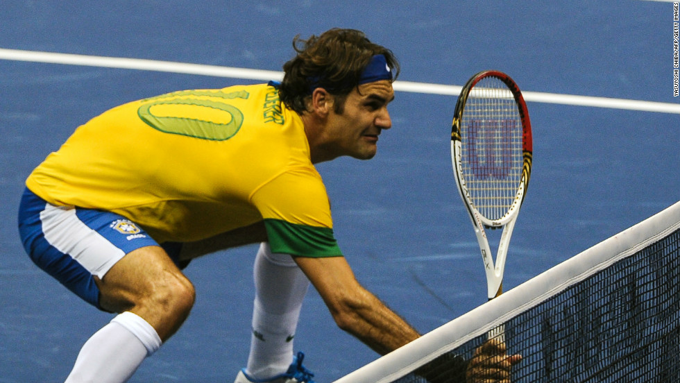 Federer wore a Brazilian national football team uniform during an exhibition match against German Tommy Haas in Sao Paulo on December 9.
