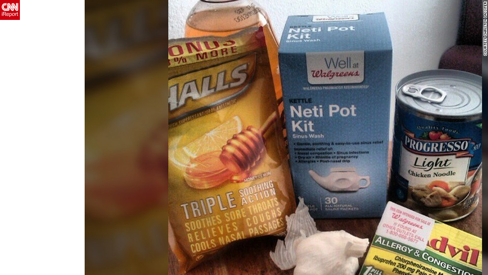 "<a href=""http://ireport.cnn.com/docs/DOC-908483"">Christen Lassiter </a>from Miami says says she couldn't keep any food down when she had the flu, so she started taking the items that are in her flu survival kit, such as chicken soup and tea with garlic."