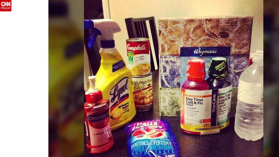 "<a href=""http://ireport.cnn.com/docs/DOC-909180"">Rachel James</a>, a nurse in Bethlehem, Philadelphia, says she not only has the flu, but a terribly painful sore throat as well. Her flu survival kit is made up of variety of medications, disinfectants, water and soups, and she says frozen Slurpees are soothing her throat."