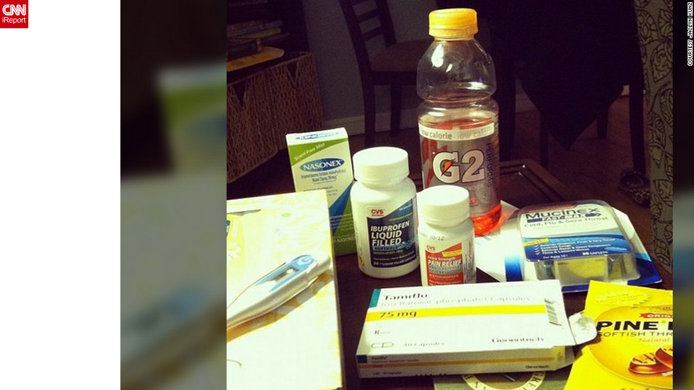 "<a href=""http://ireport.cnn.com/docs/DOC-909529"">Jaclyn Kunz</a> from East Rockaway, New York, never had the flu until this year. But now that she is sick, she says cough drops, sports drinks, a variety of cold and flu medications and ""bad television"" are helping her get through her flu."