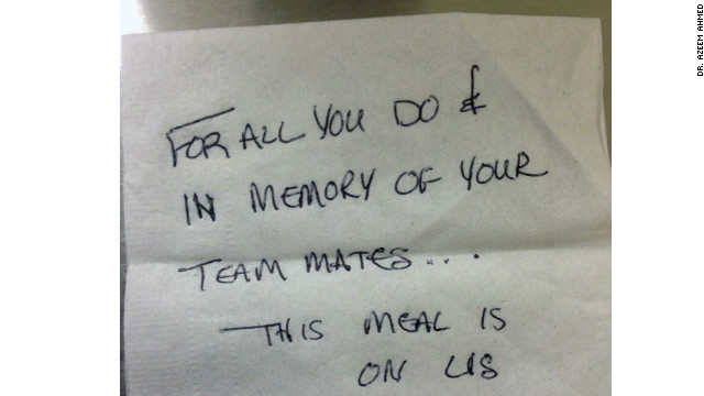 The University of Iowa AirCare team attended the memorial service for the Mercy Air Medical team in Mason City on January 10. After the service the team ate dinner at a local restaurant. An anonymous person paid the bill and left this note.