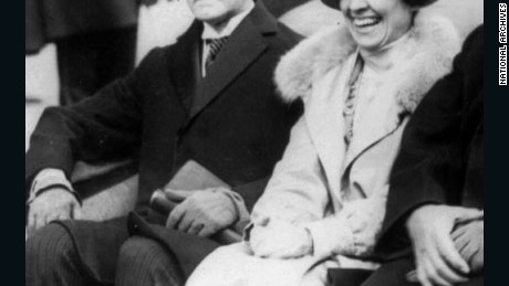 Calvin Coolidge and his wife Grace at his inauguration in 1923.