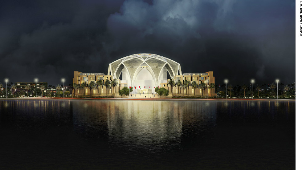 "An artist's impression of Abu Dhabi's new parliament building. According to <a href=""http://www.s-ehrlich.com/project.php?gallery=FEATURED-PROJECTS&title=FNC-S-NEW-PARLIAMENT-BUILDING-COMPLEX"" target=""_blank"">Ehrlich Architects</a>, light will be filtered through the screen of the dome, creating a microclimate and increasing energy efficiency. The building is still in phase one of the development, they say."