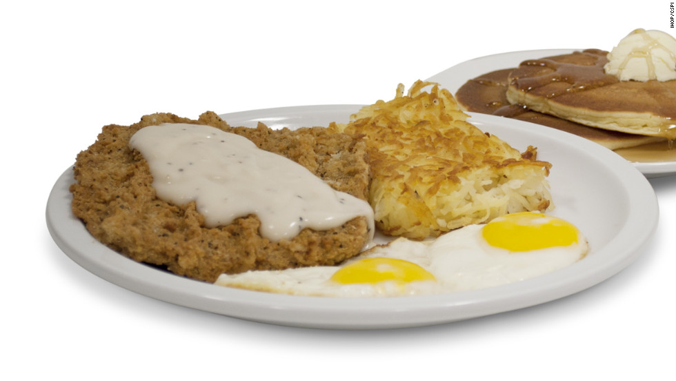IHOP's country fried steak and eggs comes with two eggs, hash browns and two buttermilk pancakes for a total calorie count of 1,760. It also has 3,720 milligrams of sodium.