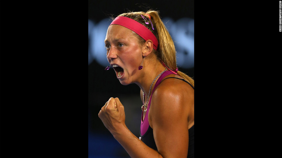 Yanina Wickmayer of Belgium celebrates winning a point in her first-round match against Jarmila Gajdosova of Australia on January 15. Wickmayer defeated Gajdosova 6-1, 7-5.
