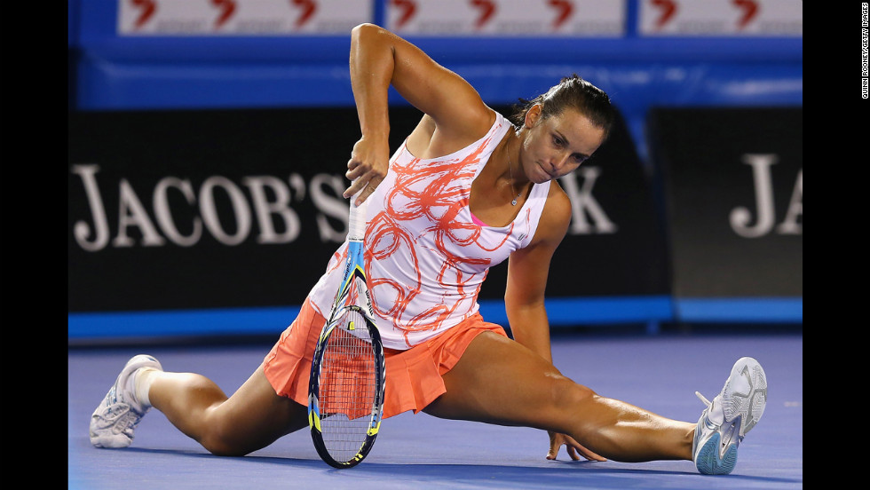 Gajdosova of Australia struggles to get up after a play during her first-round match against Wickmayer of Belgium on January 15.