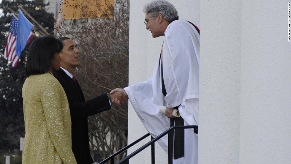 The Rev. Luis Leon of St. John's Church in Washington greets the Obamas before the President's first inauguration in 2009. Barack Obama was baptized in the United Church of Christ, one of the mainline Protestant denominations, so called for their prominence in 20th-century American life. Mainline Protestants make up about 14.7% of the American population, the study finds.