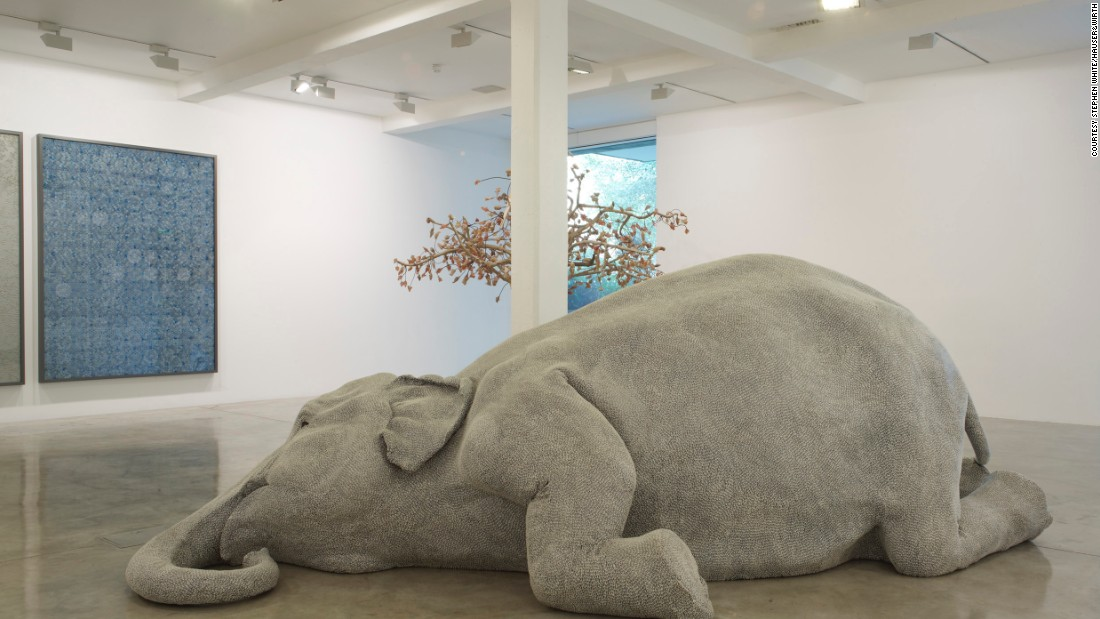 "Kher became an internationally recognized artist in 2006 after exhibiting her life-size sculpture of an elephant entitled ""The Skin Speaks a Language Not It's Own."""
