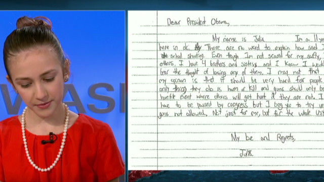 Girl reads letter she wrote to Obama