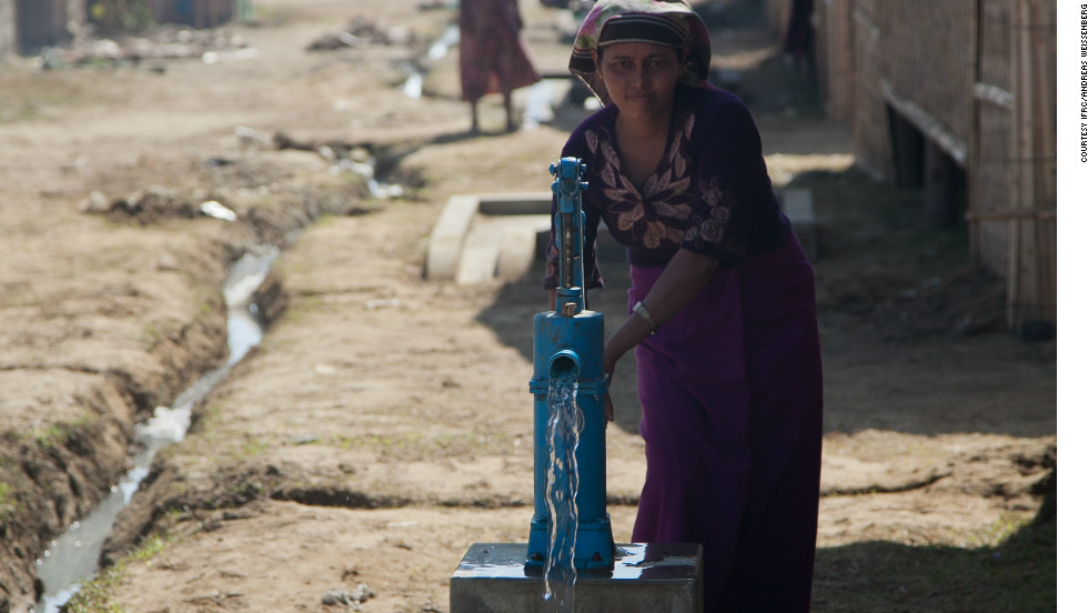 The Red Cross has built toilets and wells in camps to help meet some of the basic water and sanitation needs.