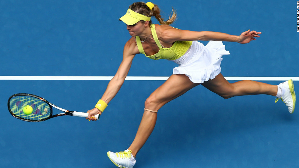 Maria Kirilenko of Russia stretches for a forehand in her second-round match against Shuai Peng of China on January 17. Kirilenko won 7-5, 6-2.