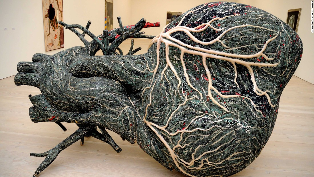 "In 2010 Bharti Kher formed part of a major exhibition at the Saatchi Gallery called The Empire Strikes Back: Indian Art Today.  Her fiber glass sculpture ""An Absence of Assignable Cause"" is seen here."