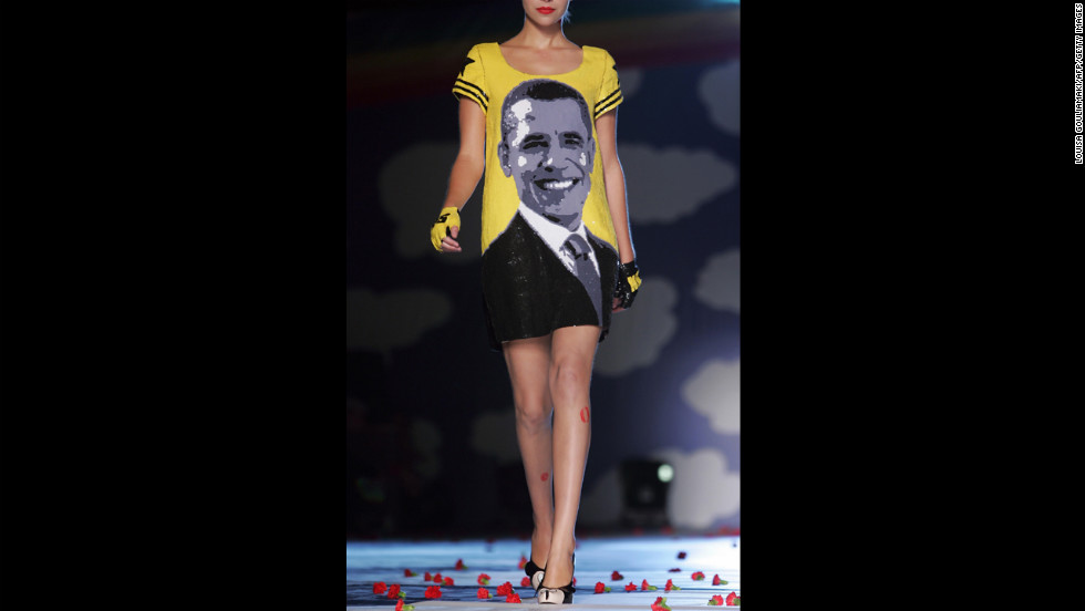 GREECE: Obama appears on a creation by French designer Jean Charles de Castelbajac during spring/summer 2009 Vodafone Athens Collection shows at the Technopolis in Athens on October 11, 2008.